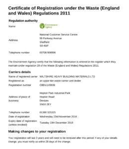 Waste Carrier Registration Certificate